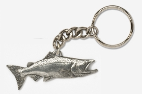 #K124 - Chinook / King Salmon Antiqued Pewter Keychain