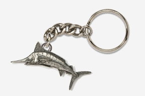 #K208 - Marlin Antiqued Pewter Keychain