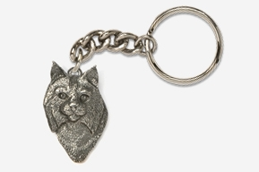 #K427 - Bobcat Head Antiqued Pewter Keychain