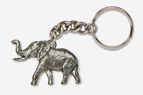 #K490 - Elephant Antiqued Pewter Keychain