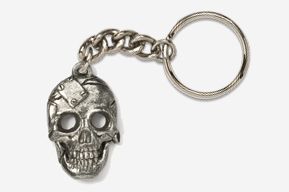 #K805 - Metal Plate Skull Antiqued Pewter Keychain