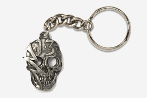 #K813 - Lucky #13 Skull Antiqued Pewter Keychain