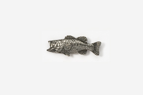 #M140 - Left facing Largemouth Bass Pewter Mini-Pin