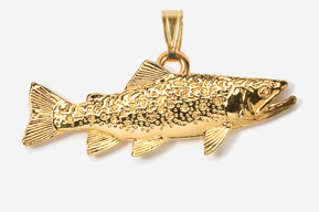 #P115G - Brook Trout 24K Gold Plated Pendant