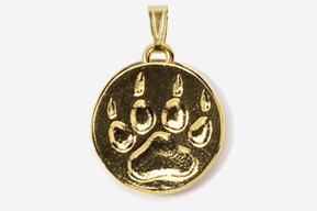 #P418FG - Wolf Track 24K Gold Plated Pendant